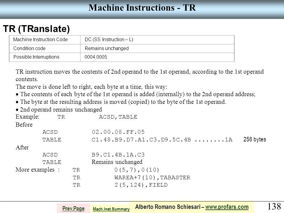 138 Alberto Romano Schiesari – www.profars.comwww.profars.com Prev.Page Machine Instructions - TR TR (TRanslate) Machine Instruction CodeDC (SS Instru