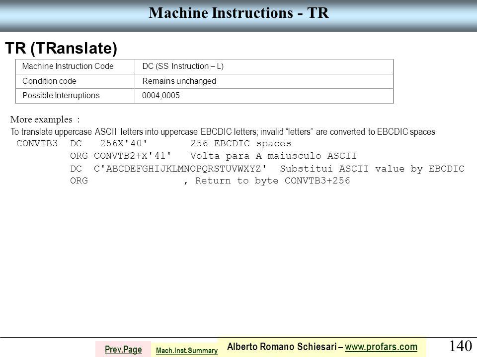 140 Alberto Romano Schiesari – www.profars.comwww.profars.com Prev.Page Machine Instructions - TR TR (TRanslate) Machine Instruction CodeDC (SS Instru
