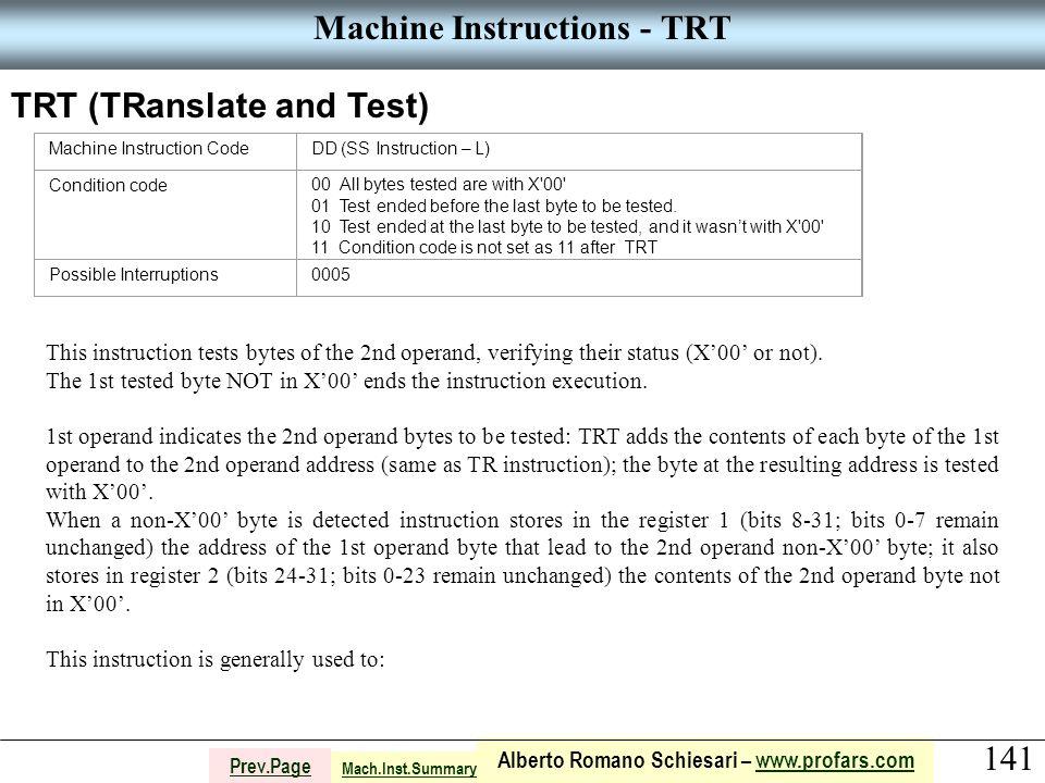 141 Alberto Romano Schiesari – www.profars.comwww.profars.com Prev.Page Machine Instructions - TRT TRT (TRanslate and Test) Machine Instruction CodeDD