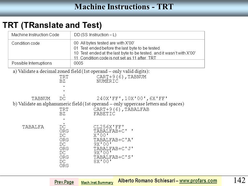 142 Alberto Romano Schiesari – www.profars.comwww.profars.com Prev.Page Machine Instructions - TRT TRT (TRanslate and Test) Machine Instruction CodeDD