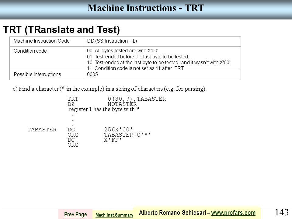 143 Alberto Romano Schiesari – www.profars.comwww.profars.com Prev.Page Machine Instructions - TRT TRT (TRanslate and Test) Machine Instruction CodeDD