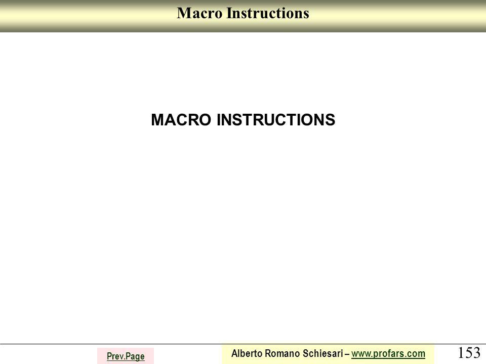 153 Alberto Romano Schiesari – www.profars.comwww.profars.com Prev.Page Macro Instructions MACRO INSTRUCTIONS