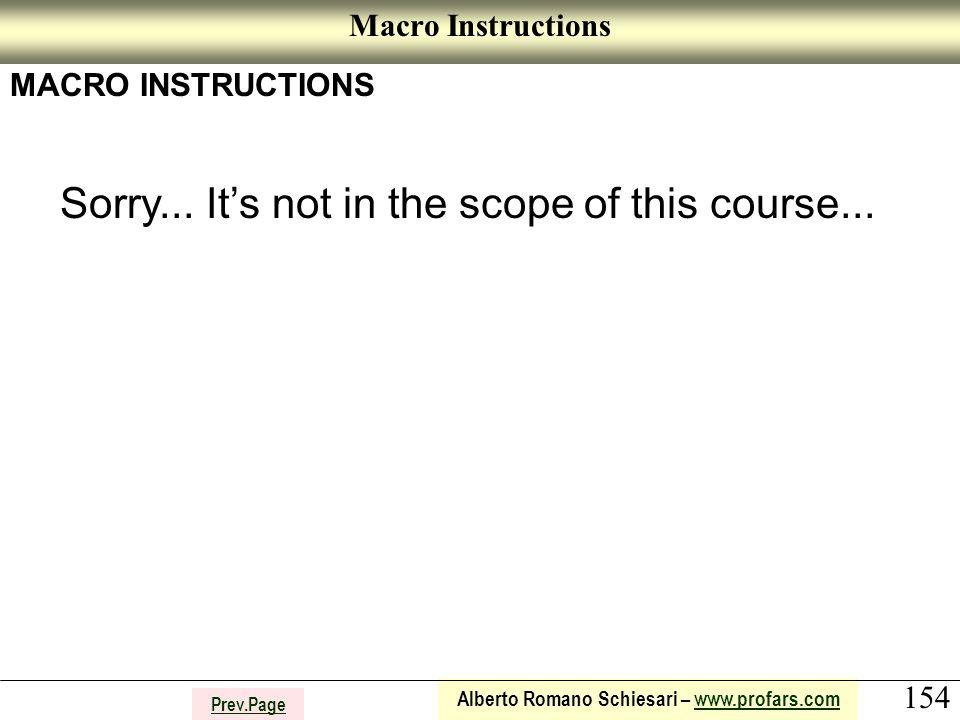 154 Alberto Romano Schiesari – www.profars.comwww.profars.com Prev.Page Macro Instructions MACRO INSTRUCTIONS Sorry...