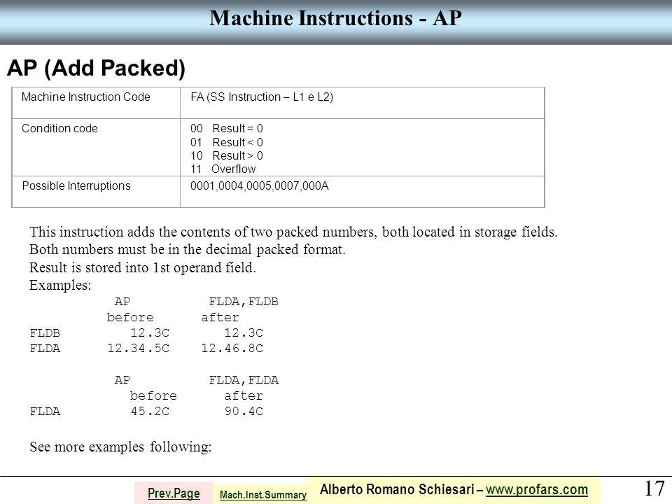 17 Alberto Romano Schiesari – www.profars.comwww.profars.com Prev.Page Machine Instructions - AP AP (Add Packed) Machine Instruction CodeFA (SS Instru