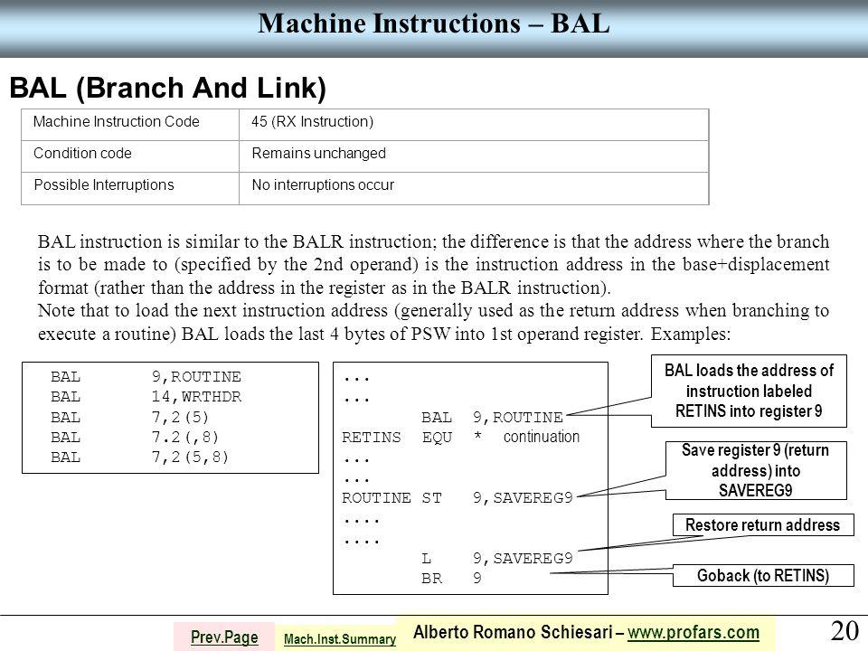 20 Alberto Romano Schiesari – www.profars.comwww.profars.com Prev.Page Machine Instructions – BAL BAL (Branch And Link) Machine Instruction Code45 (RX