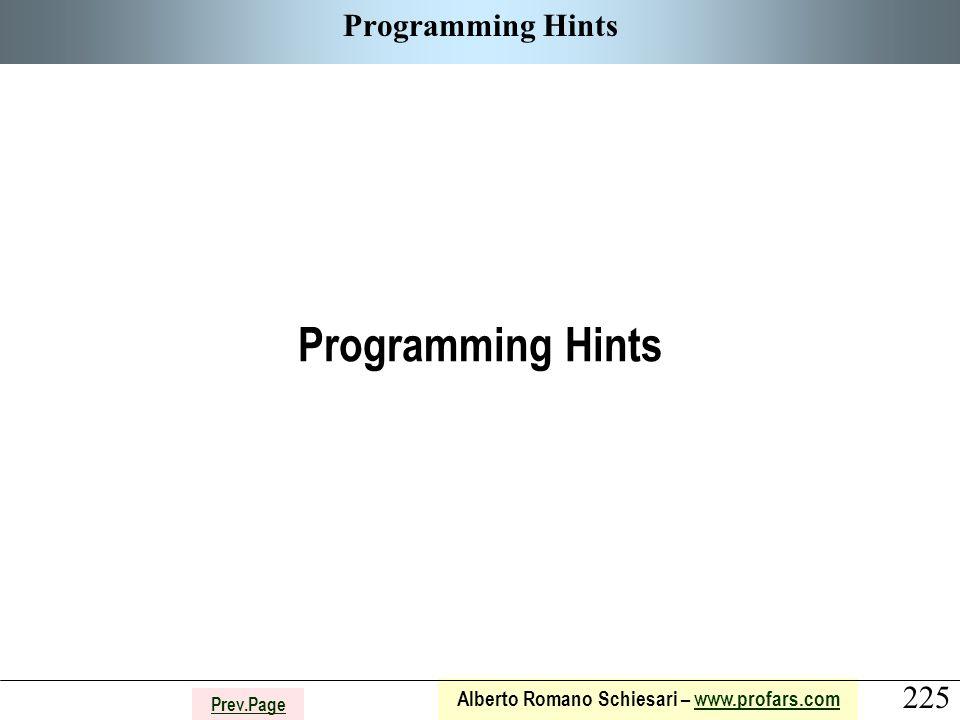 225 Alberto Romano Schiesari – www.profars.comwww.profars.com Prev.Page Programming Hints