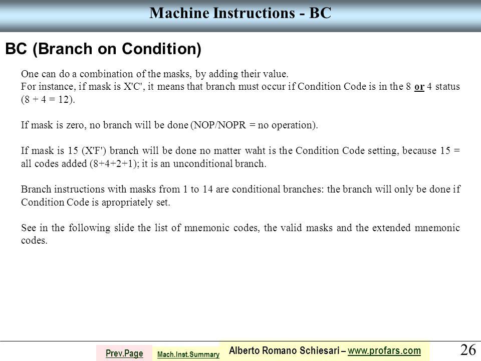 26 Alberto Romano Schiesari – www.profars.comwww.profars.com Prev.Page Machine Instructions - BC BC (Branch on Condition) One can do a combination of