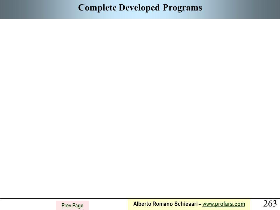 263 Alberto Romano Schiesari – www.profars.comwww.profars.com Prev.Page Complete Developed Programs