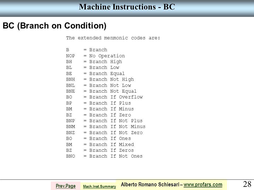 28 Alberto Romano Schiesari – www.profars.comwww.profars.com Prev.Page Machine Instructions - BC BC (Branch on Condition) The extended menmonic codes