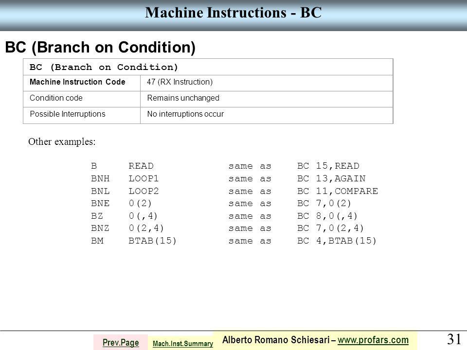 31 Alberto Romano Schiesari – www.profars.comwww.profars.com Prev.Page Machine Instructions - BC BC (Branch on Condition) Machine Instruction Code47 (RX Instruction) Condition codeRemains unchanged Possible InterruptionsNo interruptions occur Other examples: B READ same as BC 15,READ BNH LOOP1 same as BC 13,AGAIN BNL LOOP2 same as BC 11,COMPARE BNE 0(2) same as BC 7,0(2) BZ 0(,4) same as BC 8,0(,4) BNZ 0(2,4) same as BC 7,0(2,4) BM BTAB(15) same as BC 4,BTAB(15) Mach.Inst.Summary