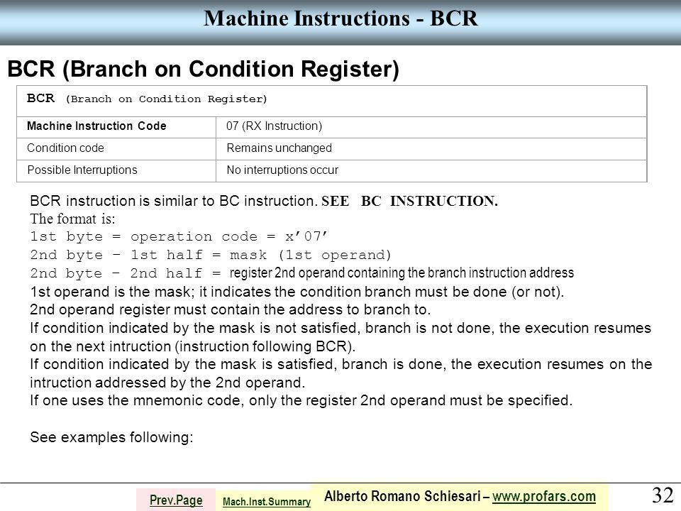 32 Alberto Romano Schiesari – www.profars.comwww.profars.com Prev.Page Machine Instructions - BCR BCR (Branch on Condition Register) Machine Instruction Code07 (RX Instruction) Condition codeRemains unchanged Possible InterruptionsNo interruptions occur BCR instruction is similar to BC instruction.