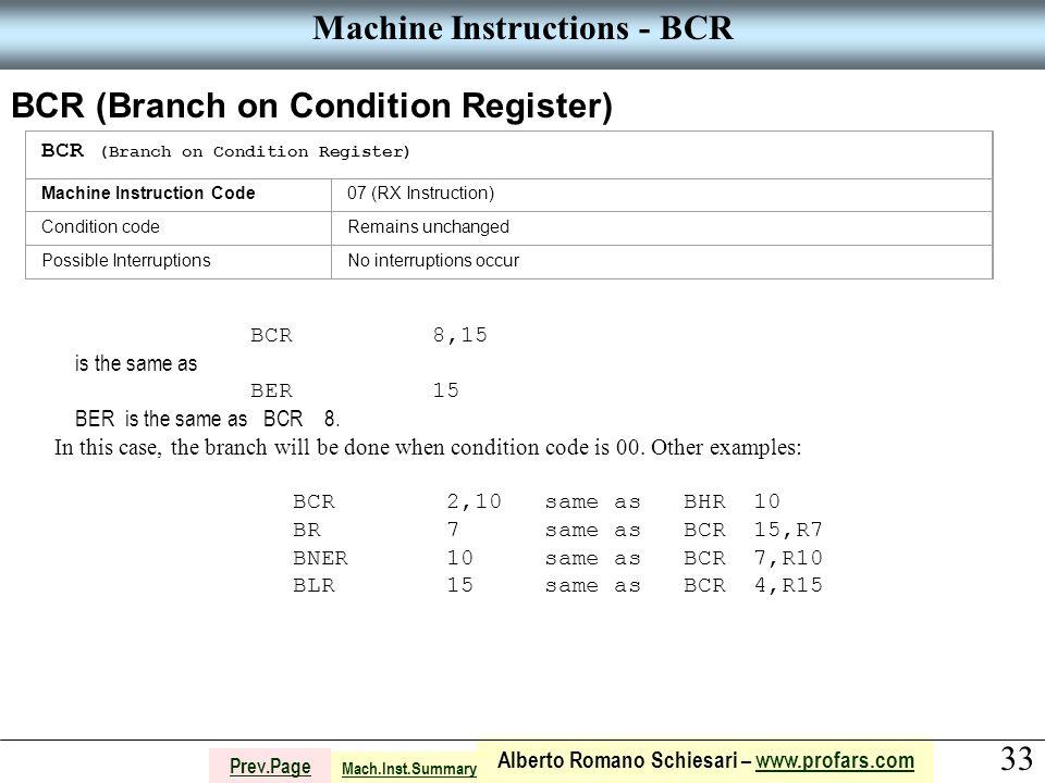 33 Alberto Romano Schiesari – www.profars.comwww.profars.com Prev.Page Machine Instructions - BCR BCR (Branch on Condition Register) Machine Instruction Code07 (RX Instruction) Condition codeRemains unchanged Possible InterruptionsNo interruptions occur BCR 8,15 is the same as BER 15 BER is the same as BCR 8.