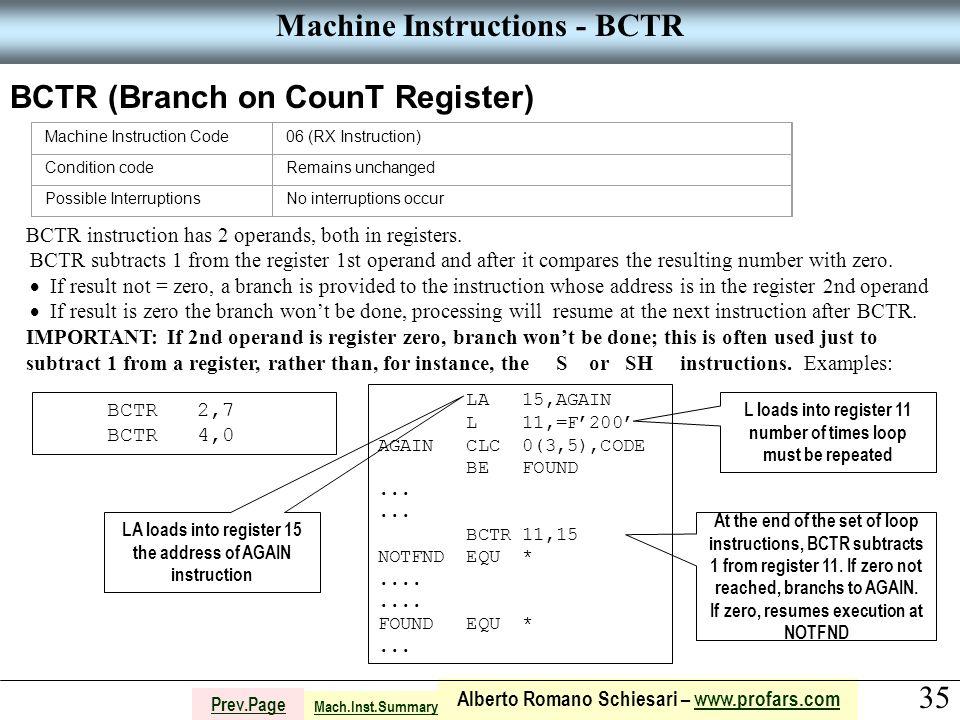 35 Alberto Romano Schiesari – www.profars.comwww.profars.com Prev.Page Machine Instructions - BCTR BCTR (Branch on CounT Register) Machine Instruction