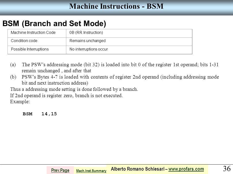 36 Alberto Romano Schiesari – www.profars.comwww.profars.com Prev.Page Machine Instructions - BSM BSM (Branch and Set Mode) Machine Instruction Code0B