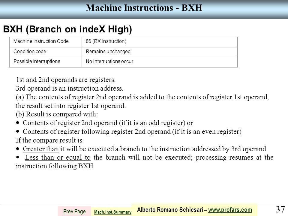 37 Alberto Romano Schiesari – www.profars.comwww.profars.com Prev.Page Machine Instructions - BXH BXH (Branch on indeX High) Machine Instruction Code8