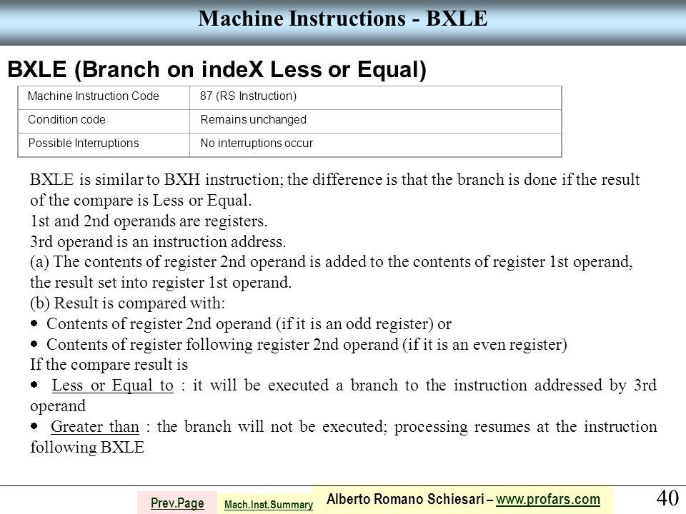 40 Alberto Romano Schiesari – www.profars.comwww.profars.com Prev.Page Machine Instructions - BXLE BXLE (Branch on indeX Less or Equal) Machine Instru