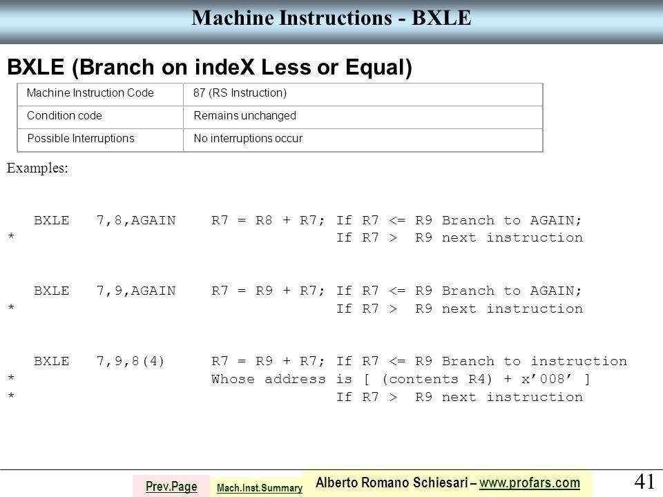 41 Alberto Romano Schiesari – www.profars.comwww.profars.com Prev.Page Machine Instructions - BXLE BXLE (Branch on indeX Less or Equal) Machine Instruction Code87 (RS Instruction) Condition codeRemains unchanged Possible InterruptionsNo interruptions occur Examples: BXLE 7,8,AGAIN R7 = R8 + R7; If R7 <= R9 Branch to AGAIN; * If R7 > R9 next instruction BXLE 7,9,AGAIN R7 = R9 + R7; If R7 <= R9 Branch to AGAIN; * If R7 > R9 next instruction BXLE 7,9,8(4) R7 = R9 + R7; If R7 <= R9 Branch to instruction * Whose address is [ (contents R4) + x'008' ] * If R7 > R9 next instruction Mach.Inst.Summary