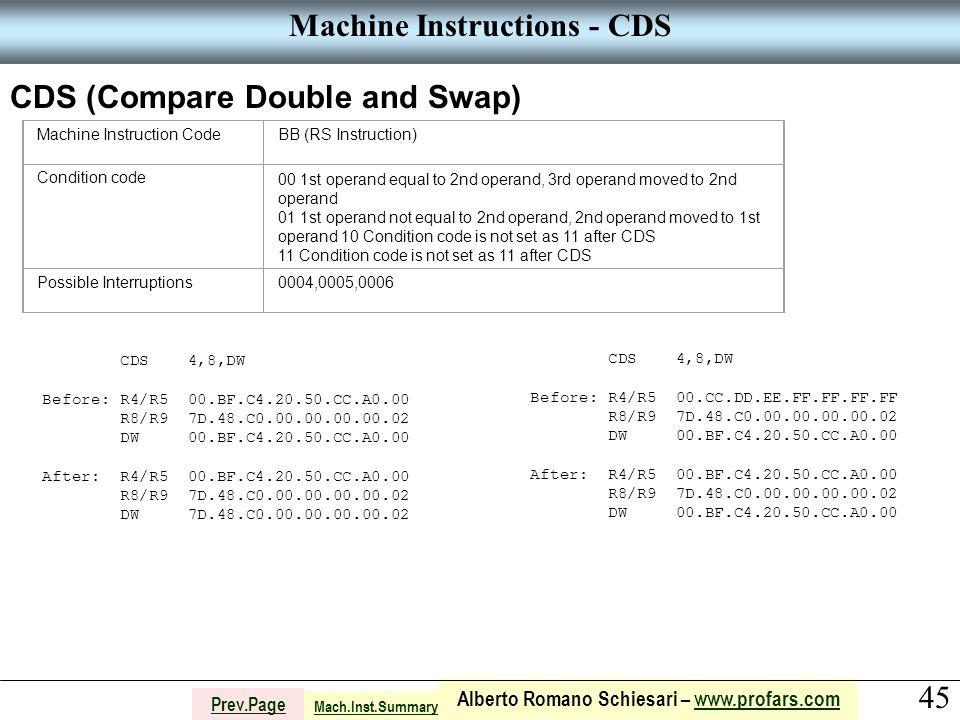 45 Alberto Romano Schiesari – www.profars.comwww.profars.com Prev.Page Machine Instructions - CDS CDS (Compare Double and Swap) Machine Instruction CodeBB (RS Instruction) Condition code00 1st operand equal to 2nd operand, 3rd operand moved to 2nd operand 01 1st operand not equal to 2nd operand, 2nd operand moved to 1st operand 10 Condition code is not set as 11 after CDS 11 Condition code is not set as 11 after CDS Possible Interruptions0004,0005,0006 CDS 4,8,DW Before: R4/R5 00.BF.C4.20.50.CC.A0.00 R8/R9 7D.48.C0.00.00.00.00.02 DW 00.BF.C4.20.50.CC.A0.00 After: R4/R5 00.BF.C4.20.50.CC.A0.00 R8/R9 7D.48.C0.00.00.00.00.02 DW 7D.48.C0.00.00.00.00.02 CDS 4,8,DW Before: R4/R5 00.CC.DD.EE.FF.FF.FF.FF R8/R9 7D.48.C0.00.00.00.00.02 DW 00.BF.C4.20.50.CC.A0.00 After: R4/R5 00.BF.C4.20.50.CC.A0.00 R8/R9 7D.48.C0.00.00.00.00.02 DW 00.BF.C4.20.50.CC.A0.00 Mach.Inst.Summary