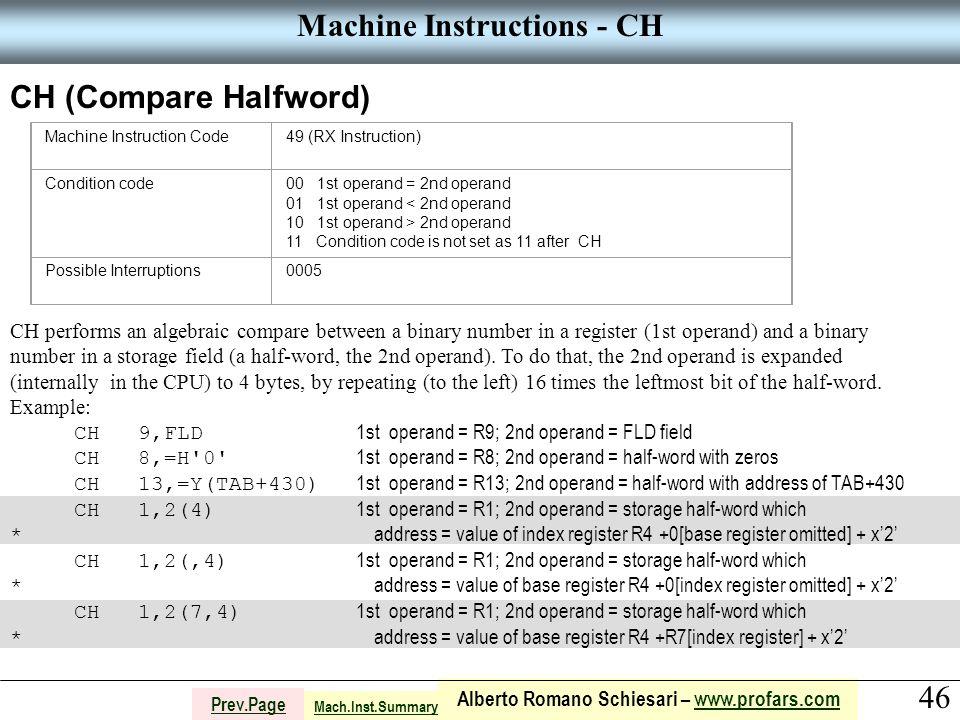 46 Alberto Romano Schiesari – www.profars.comwww.profars.com Prev.Page Machine Instructions - CH CH (Compare Halfword) Machine Instruction Code49 (RX