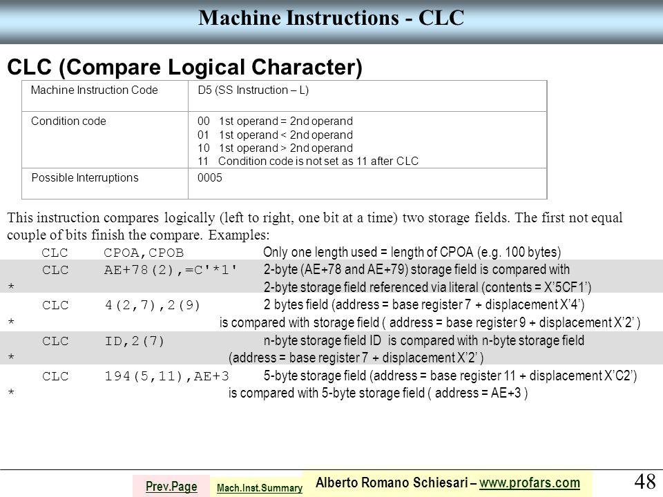 48 Alberto Romano Schiesari – www.profars.comwww.profars.com Prev.Page Machine Instructions - CLC CLC (Compare Logical Character) Machine Instruction