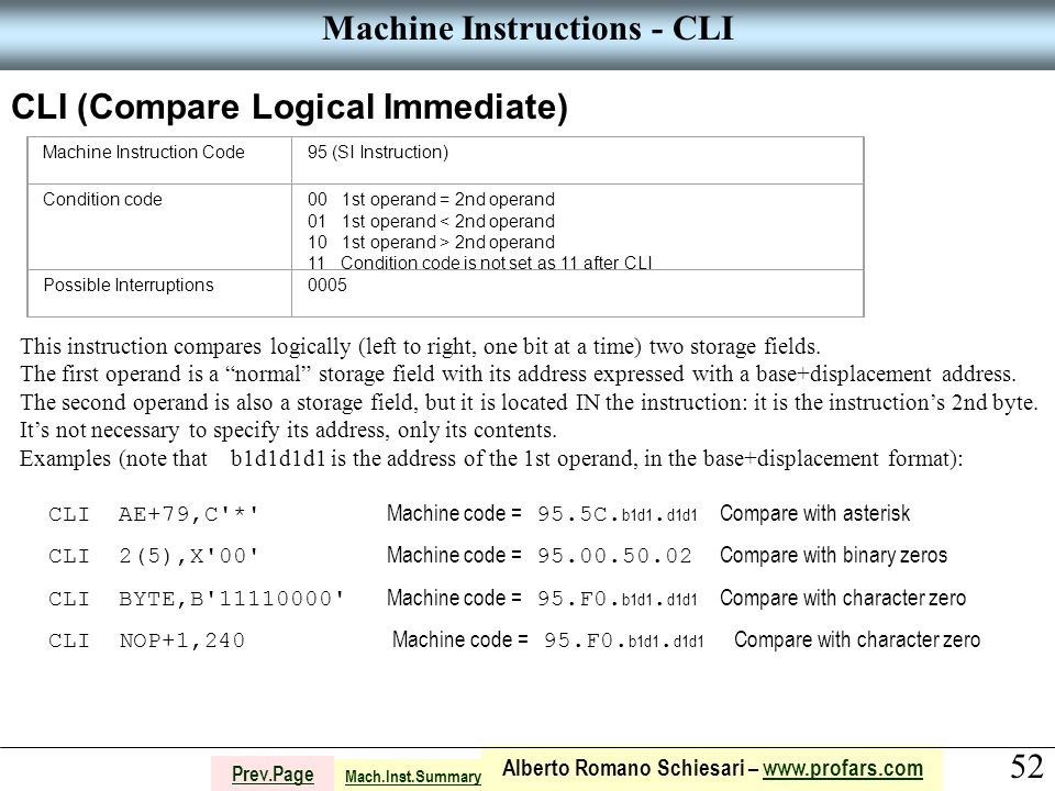 52 Alberto Romano Schiesari – www.profars.comwww.profars.com Prev.Page Machine Instructions - CLI CLI (Compare Logical Immediate) Machine Instruction