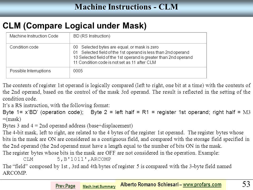 53 Alberto Romano Schiesari – www.profars.comwww.profars.com Prev.Page Machine Instructions - CLM CLM (Compare Logical under Mask) Machine Instruction