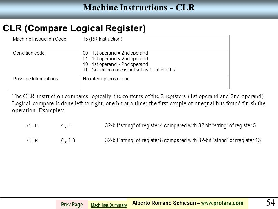 54 Alberto Romano Schiesari – www.profars.comwww.profars.com Prev.Page Machine Instructions - CLR CLR (Compare Logical Register) Machine Instruction Code15 (RR Instruction) Condition code00 1st operand = 2nd operand 01 1st operand < 2nd operand 10 1st operand > 2nd operand 11 Condition code is not set as 11 after CLR Possible InterruptionsNo interruptions occur The CLR instruction compares logically the contents of the 2 registers (1st operand and 2nd operand).