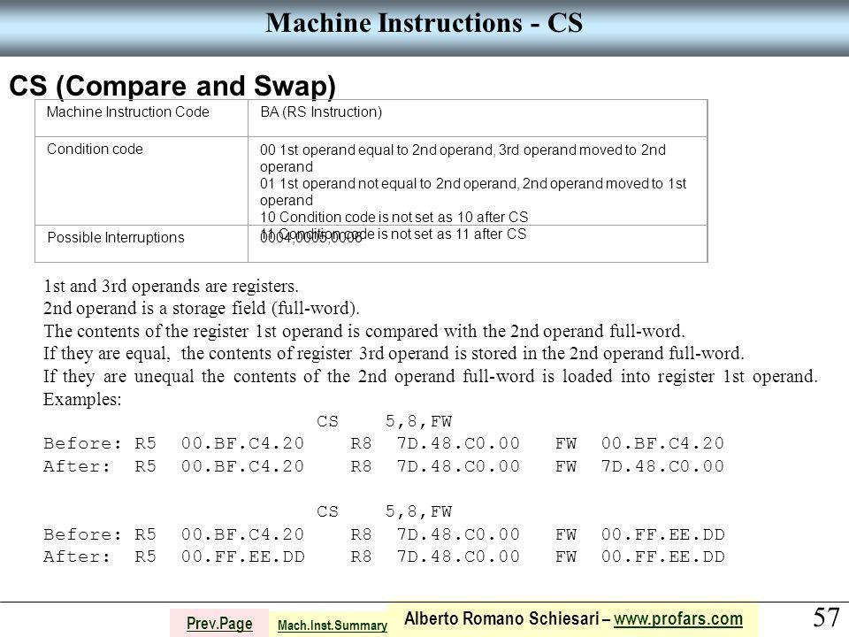 57 Alberto Romano Schiesari – www.profars.comwww.profars.com Prev.Page Machine Instructions - CS CS (Compare and Swap) Machine Instruction CodeBA (RS Instruction) Condition code00 1st operand equal to 2nd operand, 3rd operand moved to 2nd operand 01 1st operand not equal to 2nd operand, 2nd operand moved to 1st operand 10 Condition code is not set as 10 after CS 11 Condition code is not set as 11 after CS Possible Interruptions0004,0005,0006 1st and 3rd operands are registers.