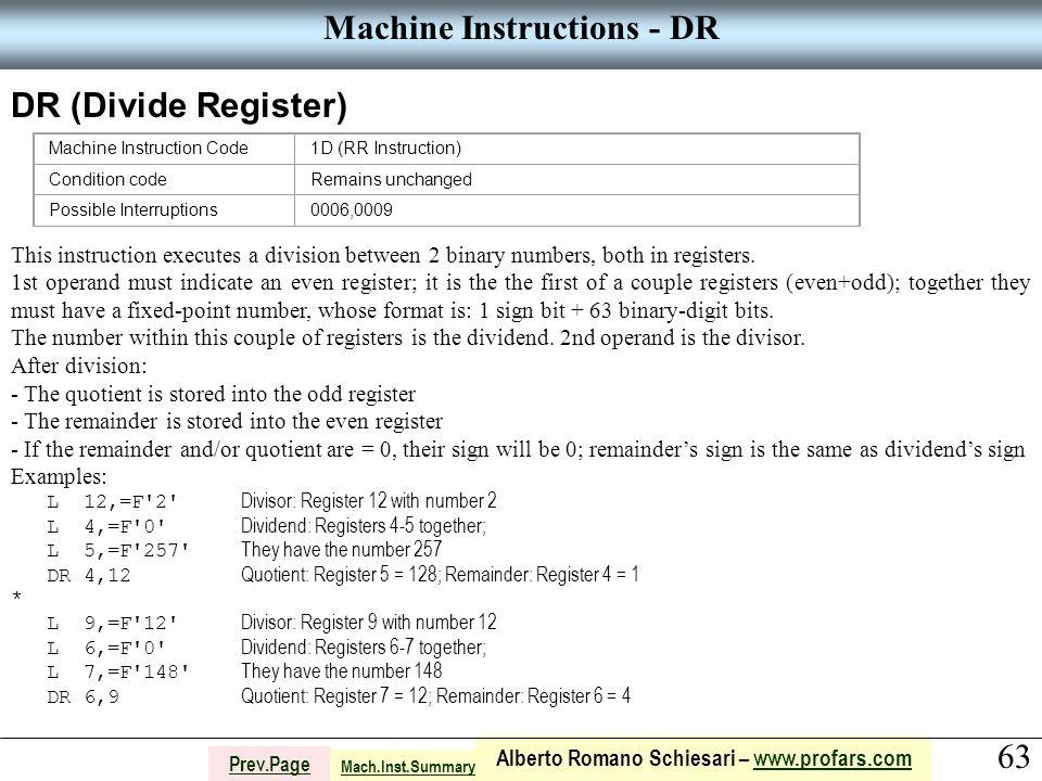 63 Alberto Romano Schiesari – www.profars.comwww.profars.com Prev.Page Machine Instructions - DR DR (Divide Register) Machine Instruction Code1D (RR I