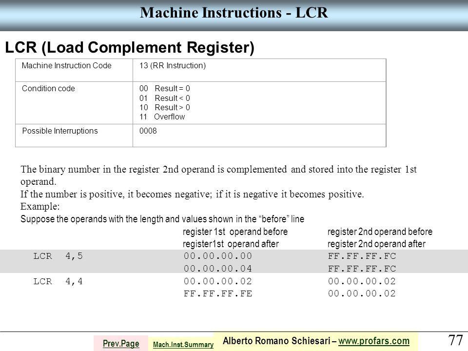 77 Alberto Romano Schiesari – www.profars.comwww.profars.com Prev.Page Machine Instructions - LCR LCR (Load Complement Register) Machine Instruction C