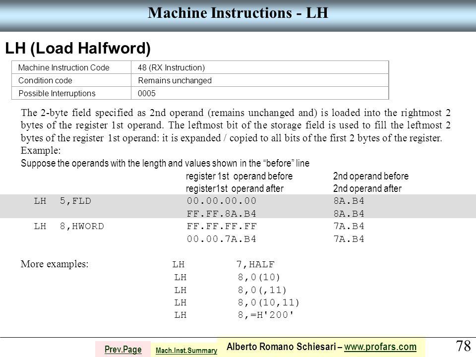 78 Alberto Romano Schiesari – www.profars.comwww.profars.com Prev.Page Machine Instructions - LH LH (Load Halfword) Machine Instruction Code48 (RX Ins