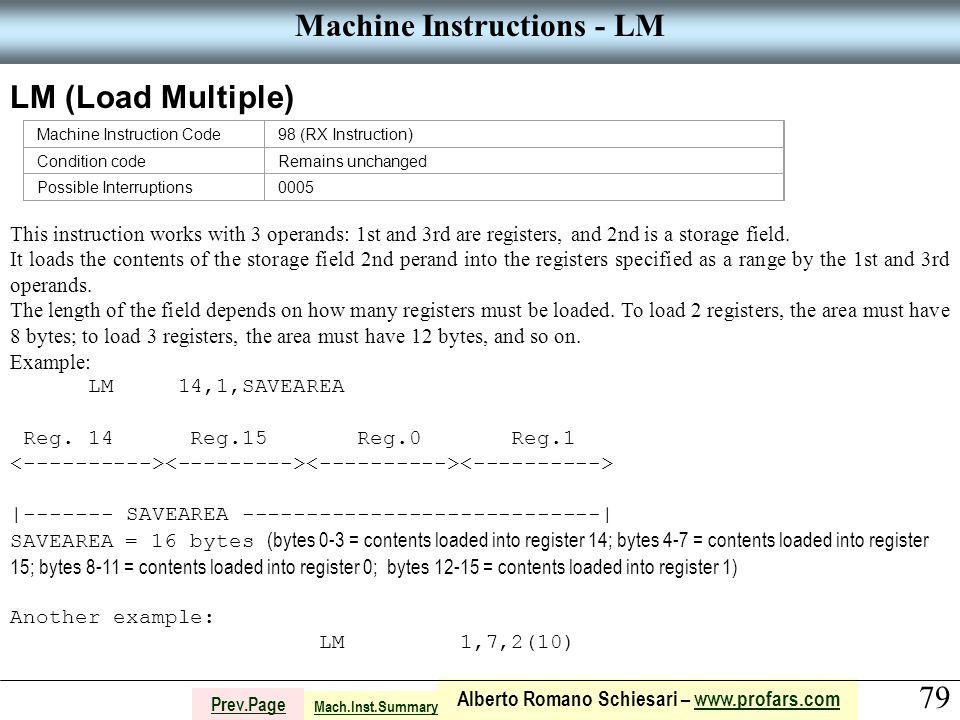 79 Alberto Romano Schiesari – www.profars.comwww.profars.com Prev.Page Machine Instructions - LM LM (Load Multiple) This instruction works with 3 oper