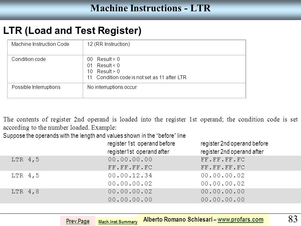 83 Alberto Romano Schiesari – www.profars.comwww.profars.com Prev.Page Machine Instructions - LTR LTR (Load and Test Register) Machine Instruction Cod