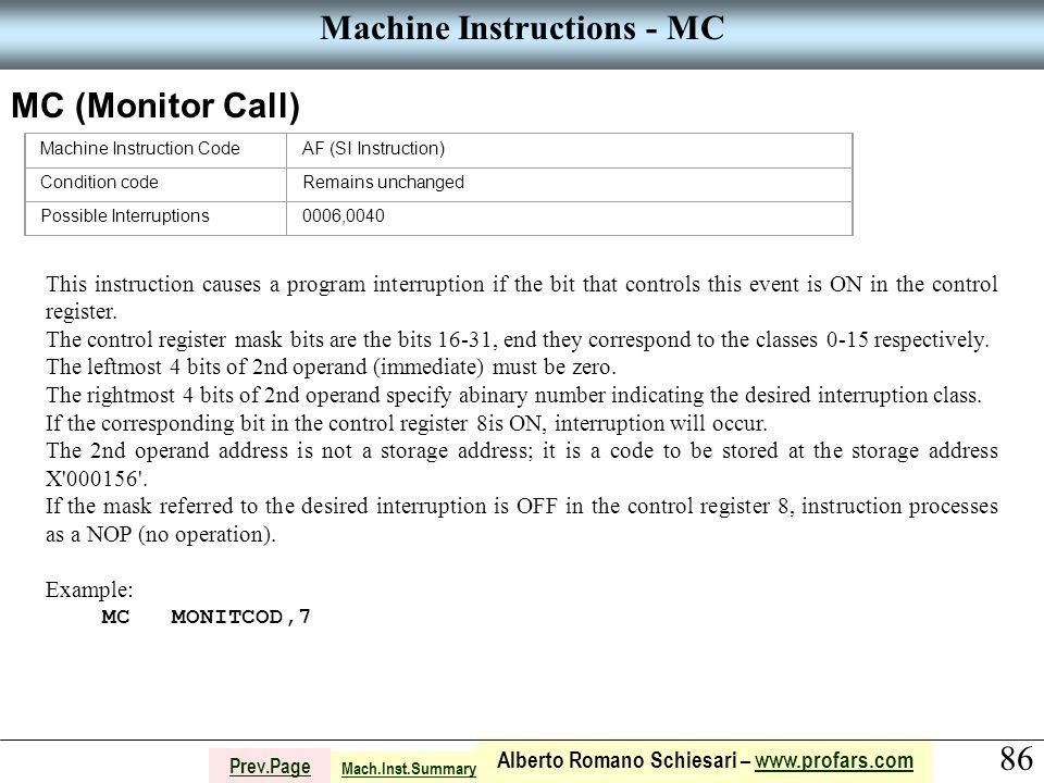 86 Alberto Romano Schiesari – www.profars.comwww.profars.com Prev.Page Machine Instructions - MC MC (Monitor Call) Machine Instruction CodeAF (SI Inst
