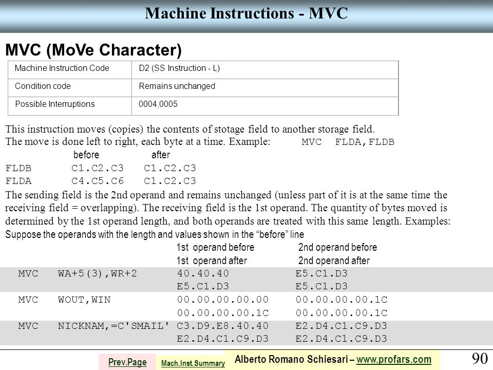 90 Alberto Romano Schiesari – www.profars.comwww.profars.com Prev.Page Machine Instructions - MVC MVC (MoVe Character) Machine Instruction CodeD2 (SS Instruction - L) Condition codeRemains unchanged Possible Interruptions0004,0005 This instruction moves (copies) the contents of stotage field to another storage field.