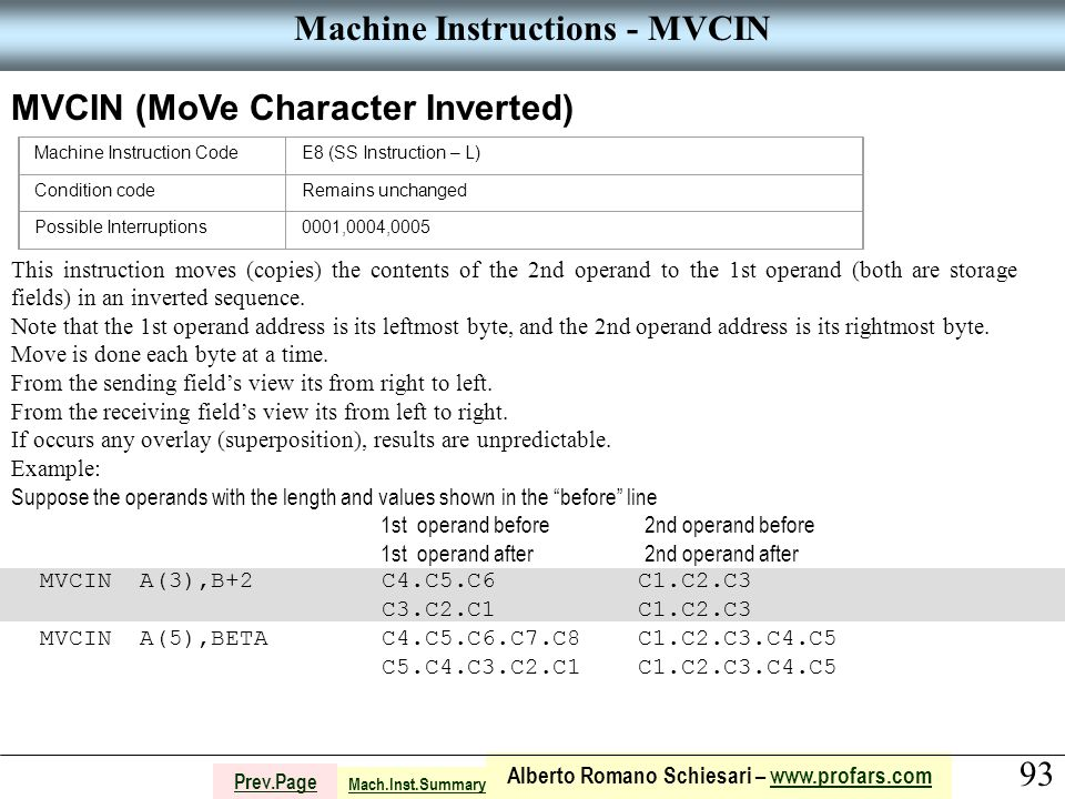93 Alberto Romano Schiesari – www.profars.comwww.profars.com Prev.Page Machine Instructions - MVCIN MVCIN (MoVe Character Inverted) Machine Instruction CodeE8 (SS Instruction – L) Condition codeRemains unchanged Possible Interruptions0001,0004,0005 This instruction moves (copies) the contents of the 2nd operand to the 1st operand (both are storage fields) in an inverted sequence.