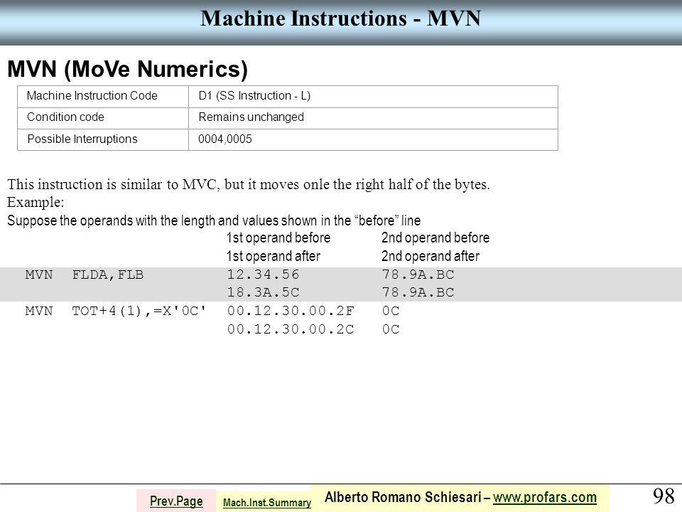 98 Alberto Romano Schiesari – www.profars.comwww.profars.com Prev.Page Machine Instructions - MVN MVN (MoVe Numerics) Machine Instruction CodeD1 (SS I