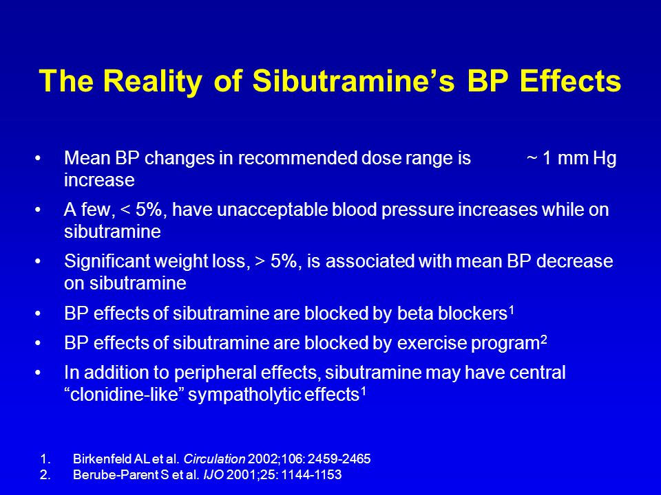 The Reality of Sibutramine's BP Effects Mean BP changes in recommended dose range is ~ 1 mm Hg increase A few, < 5%, have unacceptable blood pressure