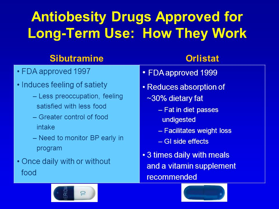 Antiobesity Drugs Approved for Long-Term Use: How They Work SibutramineOrlistat FDA approved 1997 Induces feeling of satiety – Less preoccupation, fee