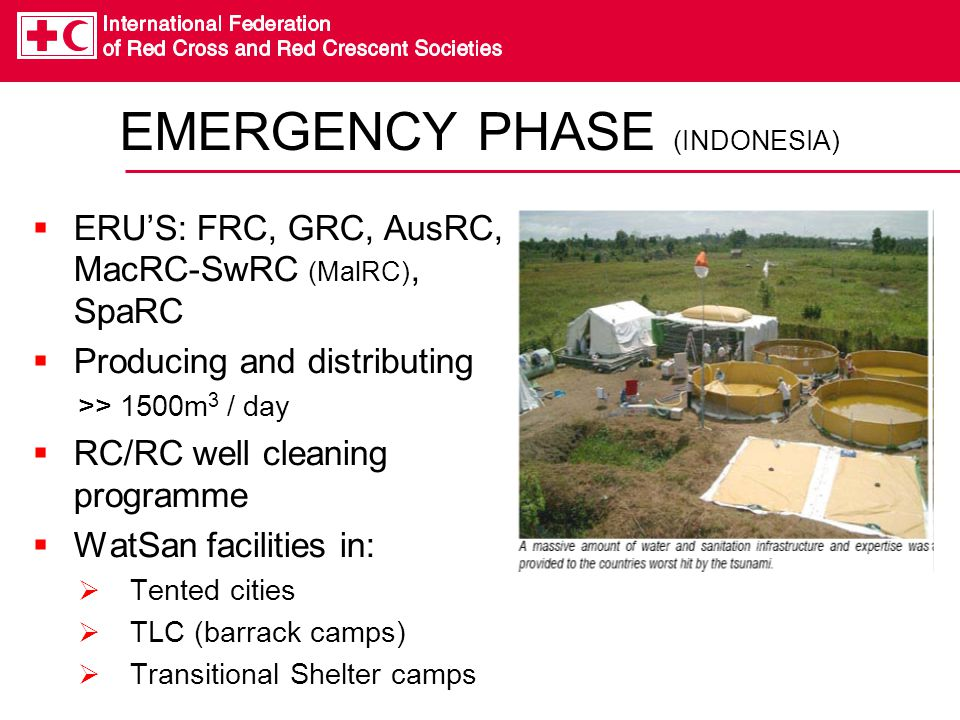 EMERGENCY PHASE (INDONESIA)  ERU'S: FRC, GRC, AusRC, MacRC-SwRC (MalRC), SpaRC  Producing and distributing >> 1500m 3 / day  RC/RC well cleaning pr
