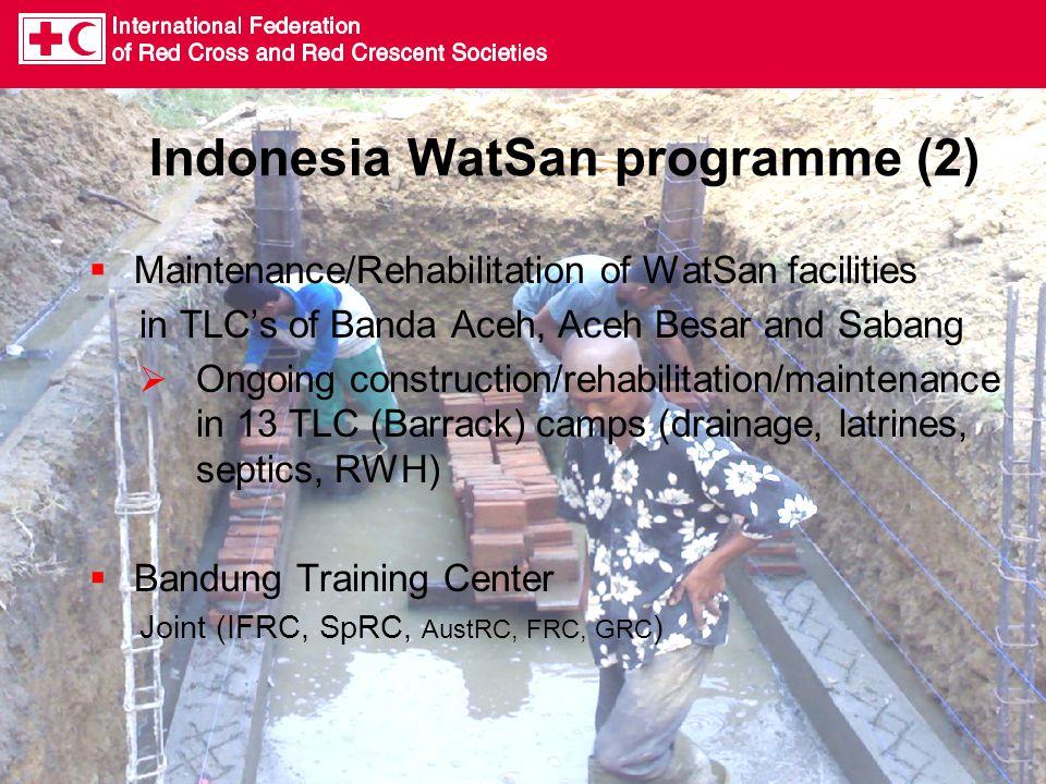 Indonesia WatSan programme (2)  Maintenance/Rehabilitation of WatSan facilities in TLC's of Banda Aceh, Aceh Besar and Sabang  Ongoing construction/
