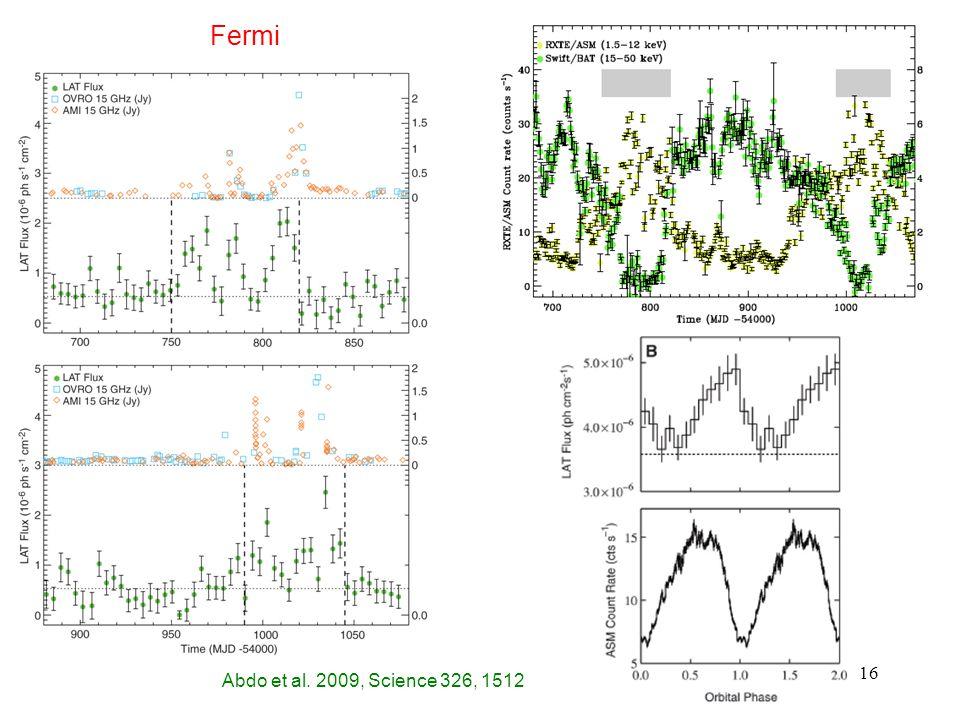 16 Abdo et al. 2009, Science 326, 1512 Fermi