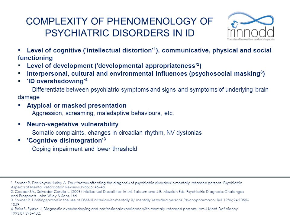 COMPLEXITY OF PHENOMENOLOGY OF PSYCHIATRIC DISORDERS IN ID  Level of cognitive ('intellectual distortion' 1 ), communicative, physical and social fun