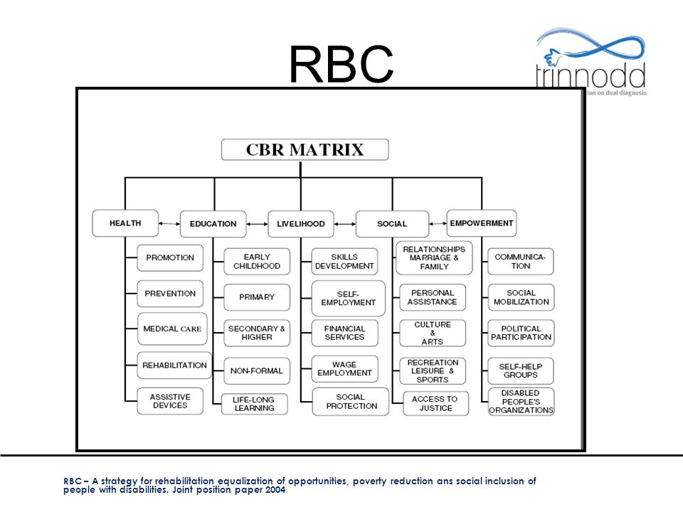 RBC RBC – A strategy for rehabilitation equalization of opportunities, poverty reduction ans social inclusion of people with disabilities. Joint posit