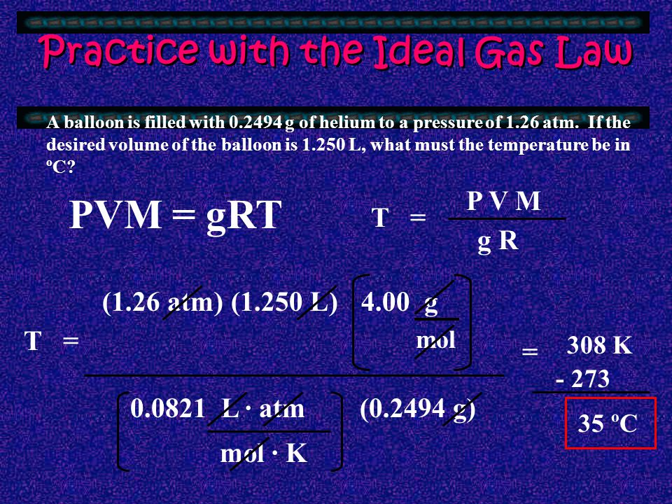 RESSUR E OLUME OLAR MASS OF GAS (g/mol) GAS CONSTANT EMPERATURE P V M R T g RAMS OF GAS Image source: popartuk.com