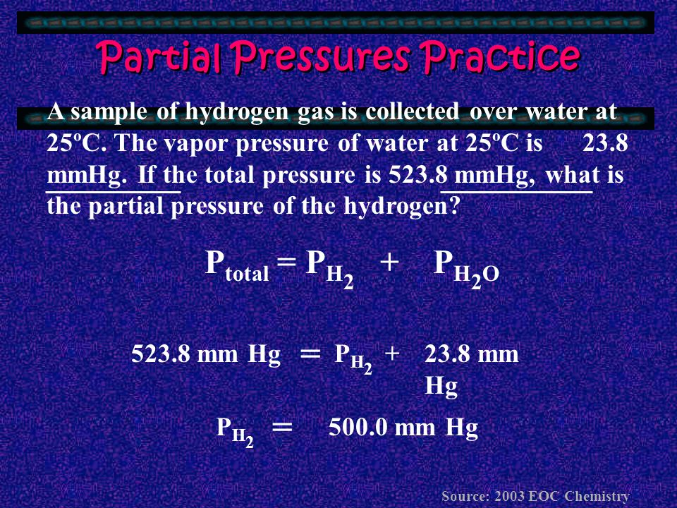 What Else Happens Under Unchanging Conditions ? At constant V and T, pressure is easy to calculate! Total Pressure = Pressure of gas 1 + Pressure of g