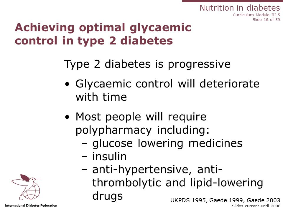 Nutrition in diabetes Curriculum Module III-5 Slide 16 of 59 Slides current until 2008 Achieving optimal glycaemic control in type 2 diabetes Type 2 diabetes is progressive Glycaemic control will deteriorate with time Most people will require polypharmacy including: –glucose lowering medicines –insulin –anti-hypertensive, anti- thrombolytic and lipid-lowering drugs UKPDS 1995, Gaede 1999, Gaede 2003