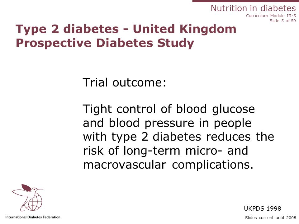 Nutrition in diabetes Curriculum Module III-5 Slide 56 of 59 Slides current until 2008 Summary The behavioural/counselling approach to diet management includes identifying barriers to change and includes: Dietary management/food preferences and patterns Lifestyle Culture Social issues Physical activity