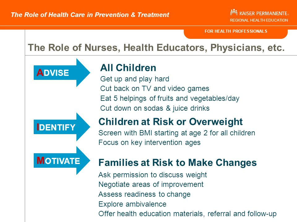 FOR HEALTH PROFESSIONALS The Role of Health Care in Prevention & Treatment REGIONAL HEALTH EDUCATION What should my child weigh.