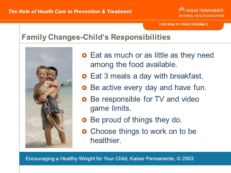 FOR HEALTH PROFESSIONALS The Role of Health Care in Prevention & Treatment REGIONAL HEALTH EDUCATION Family Changes-Parents Responsibilities  Purchas